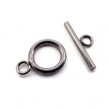 Stainless Steel Round Toggle Clasp x 8pcs 12mm x 17mm